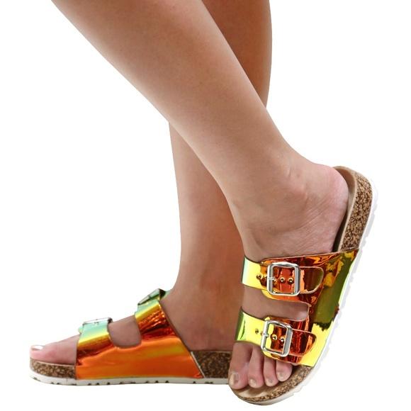 395d77208ce Mermaid Metallic Mirror Open Toe Sandal Slides NIB. Boutique. Bamboo